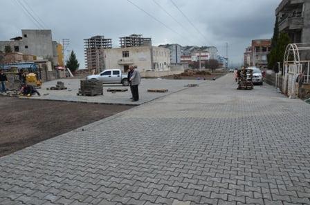 Siverek Belediyesi kilit taşı döşeme çalışmaları