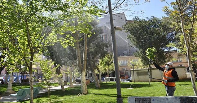 Siverek'teki Parklarda İlaçlama Çalışması
