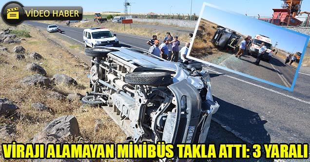 Virajı Alamayan Minibüs Takla Attı: 3 Yaralı