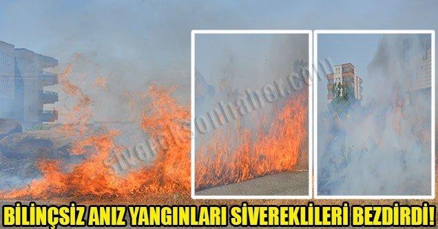 Bilinçsiz anız yangınları Sivereklileri bezdirdi!