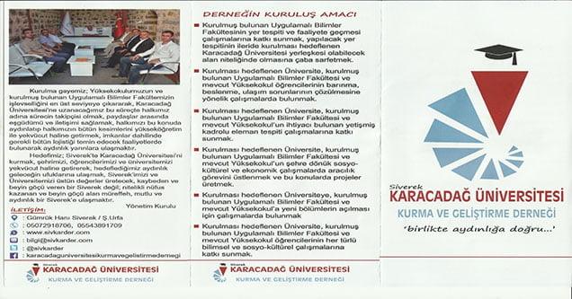 Karacadağ Üniversitesi Derneğinden Broşür