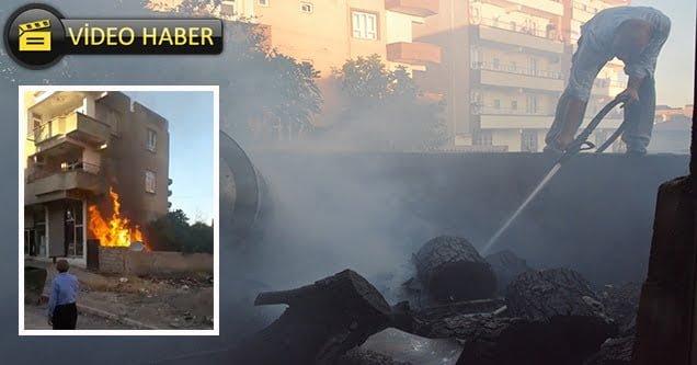 Alevler binanın ikinci katına kadar yükseldi