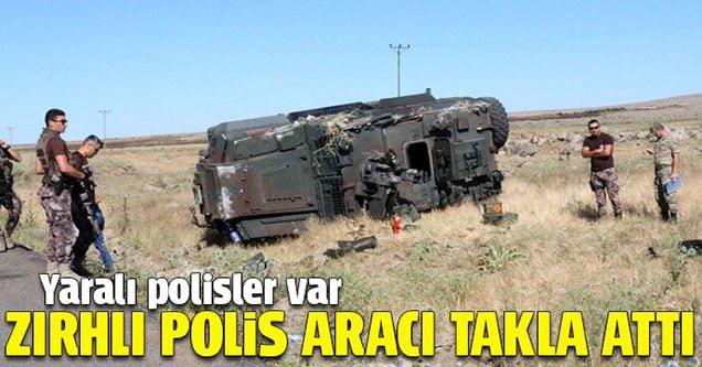 Zırhlı polis aracı takla attı: 6 polis yaralı