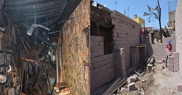 Siverek Belediyesi işyeri yanan esnafın işyerini yeniliyor