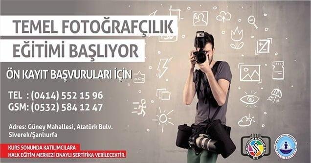 Siverek'te ücretsiz temel fotoğrafçılık kursu açılıyor