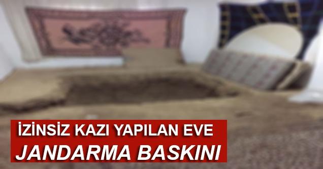 Evin bodrumundaki izinsiz kazıya Jandarma baskını
