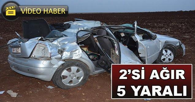 Otomobil tarlaya uçtu: 2'si ağır 5 yaralı