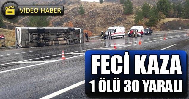 Elazığ – Diyarbakır karayolunda kaza: 1 ölü 5'i ağır 30 yaralı