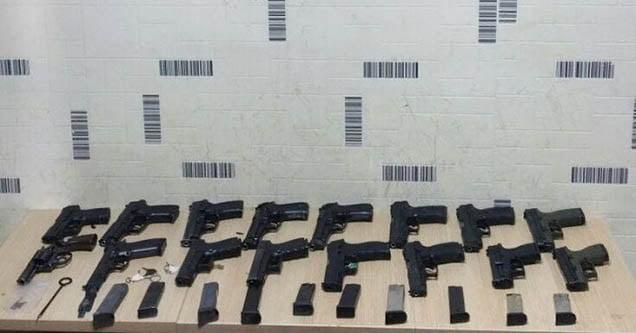 Hafif ticari araçta 16 tabanca ele geçirildi