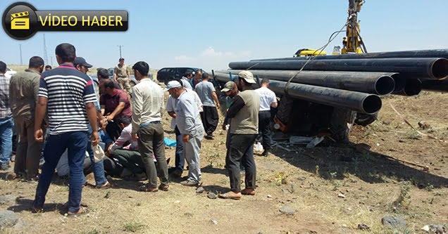 Boruların altında kalan işçi yaralandı