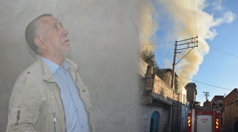 Tek başına yaşayan yaşlı adamın evinde yangın çıktı
