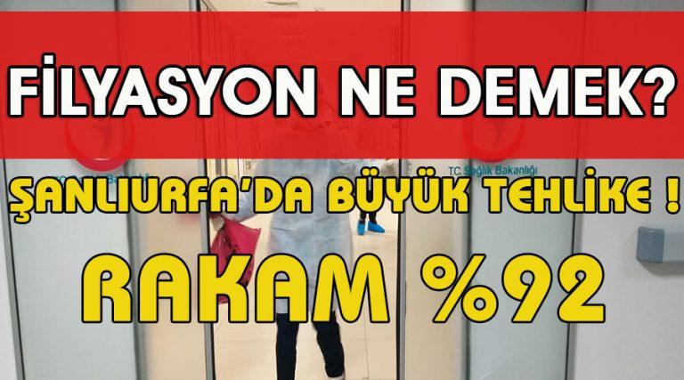 Şanlıurfa'da filyasyon %92 ne demek?