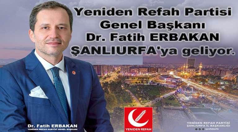 Erbakan Şanlıurfa'ya geliyor